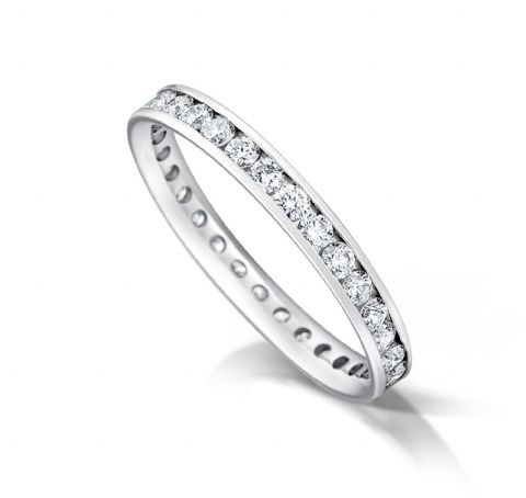 Channel set court eternity/wedding ring, platinum. 2.5mm x 1.7mm. 1/4 coverage